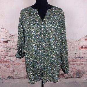 J. Jill M Blue Green Floral Cotton Popover Tunic